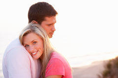 Romantic Young couple in love at sunset Royalty Free Stock Photos
