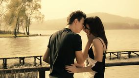 Romantic young couple stock video