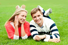 Romantic young couple outdoors in the park Royalty Free Stock Image