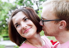 Romantic Young Couple Outdoors Portrait Royalty Free Stock Photo