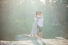 Romantic young couple outdoors Stock Images