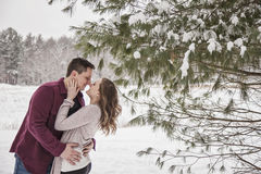 Romantic young couple outdoors in winter Stock Photography