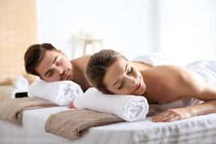 Romantic young couple relaxing royalty free stock photography
