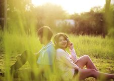 Romantic Young Couple In Love. Romantic young couple showing love and care ,valentines day** Note: Slight blurriness Royalty Free Stock Photo