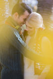 Romantic young couple smiling in park during autumn stock photography