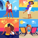 Romantic Young Couple Spending Honeymoon on Beach. Romantic young couple in love spending honeymoon on exotic beach vector colorful poster of four photos. Hot vector illustration