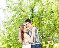 Romantic young couple standing under  blossom tree Stock Photo