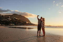 Romantic young couple taking selfie Royalty Free Stock Photos
