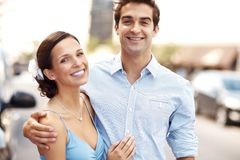 Romantic young couple together - Outdoor Royalty Free Stock Photos