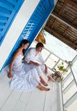 Romantic young couple in tropical beach house Royalty Free Stock Photos