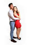 Romantic young couple  on white background Stock Photo