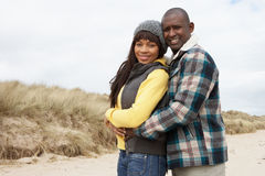 Romantic Young Couple On Winter Beach Stock Image