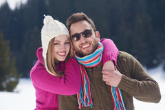 Romantic young couple on winter vacation Royalty Free Stock Photo