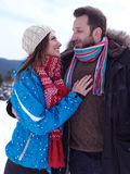 Romantic young couple on winter vacation Stock Image