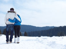 Romantic young couple on winter vacation Stock Photography