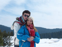 Romantic young couple on winter vacation Royalty Free Stock Images