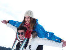 Romantic young couple on winter vacation Stock Photo