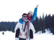 Romantic young couple on winter vacation Stock Images