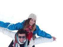 Romantic young couple on winter vacation Royalty Free Stock Photos