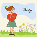 Romantic young girl with big heart Royalty Free Stock Images