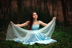 Romantic young girl in a long blue dress, in twilight forest Stock Photo