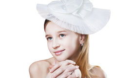 Romantic young girl in white hat isolated Stock Images
