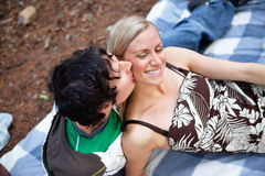 Romantic young guy kissing happy female. Top view of romantic young guy kissing happy female while on picnic stock photography