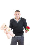 Romantic young man with gifts for valentines day Royalty Free Stock Photos