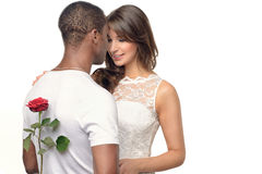 Romantic young man with a pretty woman Royalty Free Stock Image
