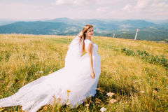 Romantic young pretty bride posing on the windy golden autumn field with small flowers. Hill landscape at background Royalty Free Stock Images