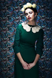 Romantic Young Styled Woman in Green Vintage Dress. Pin-up Royalty Free Stock Photos