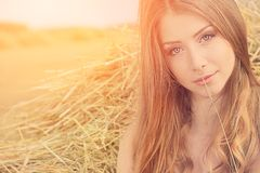 Romantic young woman. Posing outdoor Stock Image