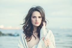 Romantic Young Woman on Blue Natural Background stock image