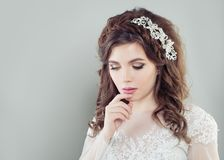 Romantic young woman bride with makeup royalty free stock photography