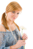 Romantic young woman hold gerbera daisy Royalty Free Stock Photography