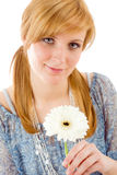 Romantic young woman hold gerbera daisy Stock Photo