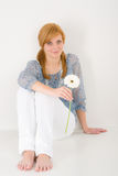 Romantic young woman hold gerbera daisy Royalty Free Stock Photo