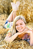 Romantic young woman posing outdoor. Royalty Free Stock Photography