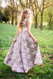 Romantic young woman posing outdoor Royalty Free Stock Photo