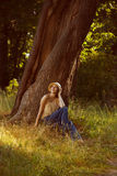 Romantic young woman sitting under a tree Royalty Free Stock Photos