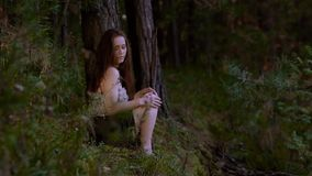 Romantic young woman sitting in the wood alone and touches her legs and palms as she is a bit cold. Romantic young woman sitting in the wood alone. She touches stock video footage