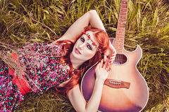Romantic Youth Girl With Her Guitar, Summer, Hippie Style Stock Image