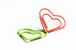 Romantically connected. Two paper clips showing Romantically connected Stock Photography