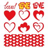 Romantically set of hearts, inscriptions and pattern. Vector. St. Romantically set of hearts, inscriptions and pattern. Vector. Design elements for Valentine`s Stock Image