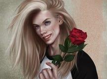 Romantico con una rosa rossa illustrazione di stock