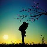 Romantico sotto l'albero, illustrazioni di vettore Fotografia Stock