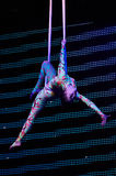'Romantics' circus entertainment show , 21 February 2016 in Minsk, Belarus. MINSK, BELARUS FEBRUARY 21: unidentified gymnast from ' Romantics' team  participate Stock Photo
