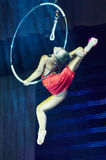 'Romantics' circus entertainment show , 21 February 2016 in Minsk, Belarus. MINSK, BELARUS FEBRUARY 21: unidentified gymnast from ' Romantics' team  participate Stock Image