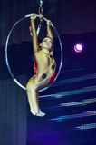 'Romantics' circus entertainment show , 21 February 2016 in Minsk, Belarus. MINSK, BELARUS FEBRUARY 21: unidentified gymnast from ' Romantics' team  participate Stock Images