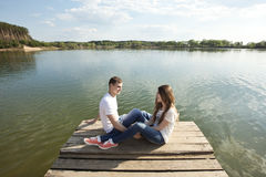 Romantics on the nature. Romantic couple on the nature Stock Image